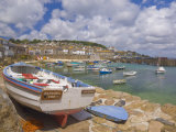 Small Boat on Quay and Small Boats in Enclosed Harbour at Mousehole, Cornwall, England Photographic Print by Neale Clark