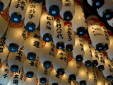 Lanterns with Donors Names Hanging from the Ceiling at Hozenji Temple in Namba, Osaka, Japan Photographic Print