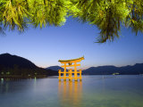 Illumination of Itsukushima Shrine Torii Gate, Miyajima Island, Hiroshima Prefecture, Japan Photographic Print by Christian Kober