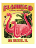 Flamingo Paradise Grill Poster by Mike Patrick