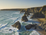 Evening Light on Rock Stacks, Beach and Rugged Coastline, Bedruthan Steps, North Cornwall, England Photographic Print by Neale Clark