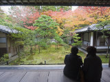 Couple Observing Autumn Colours, Koto in Zen Temple, Within Daitokuji Main Temple, Kyoto, Japan Photographic Print by Christian Kober