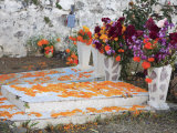 Decorated Graves, Cemetery, Janitzio Island, Day of the Dead, Lake Patzcuaro, Patzcuaro, Michoacan  Photographic Print by Wendy Connett
