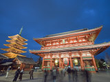 Sensoji Temple Illuminated at Night, Asakusa, Tokyo, Japan, Asia Photographic Print by Christian Kober