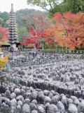 Jizo Stone Statues and Autumn Maple Leaves at Adashino Nenbutsu Dera Temple, Kyoto, Japan, Asia Photographic Print by Christian Kober