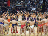 Fukuoka Sumo Competition, Entering the Ring Ceremony, Kyushu Basho, Fukuoka City, Kyushu, Japan Photographic Print by Christian Kober