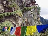 Prayer Flags at the Tigers Nest (Taktsang Goemba), Paro Valley, Bhutan, Asia Photographic Print by Christian Kober