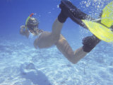 Woman Snorkeling in the Maldives, Indian Ocean, Asia Photographic Print by Sakis Papadopoulos
