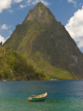 Wooden Rowboat Is Lying in Atlantic Ocean, St. Lucia, Windward Islands, West Indies, Caribbean Fotografiskt tryck av Michael Runkel