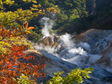 Steam Fumaroles, Jigokudani Geothermal Area, Noboribetsu Onsen, Shikotsu-Toya National Park, Japan Photographic Print by Tony Waltham