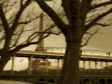 Eiffel Tower and Metro Train on Pont De Bir-Hakeim, Paris, France, Europe Photographic Print