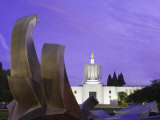 Fountain and State Capitol Building in Salem, Oregon, United States of America, North America Photographic Print by Richard Cummins