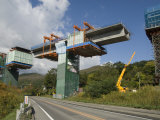 Construction of New Viaduct Near Hidaka, for Freeway from Sapporo to Obihiro, Japan Photographic Print by Tony Waltham