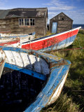 Old Fishing Boats and Delapidated Fishermens Huts, Beadnell, Northumberland, United Kingdom Photographic Print by Lee Frost