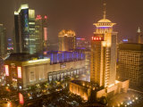 Skyline at Night, Shanghai, China Reproduction photographique par Michael DeFreitas