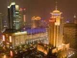 Skyline at Night, Shanghai, China Reproduction photographique par Michael DeFreitas