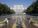 Fountains in Front of the Palace of Parliament, Former Ceausescu Palace, Bucharest, Romania, Europe Photographic Print by Marco Cristofori