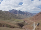 Border Road Between Tajikistan and Kyrgyzstan in Mountains, Near Sary Tash, Kyrgyzstan, Asia Photographic Print by Michael Runkel