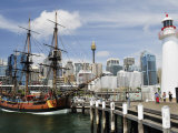 Replica of Captain Cook's Endeavour, National Maritime Museum, Darling Harbour, Sydney, Australia Photographic Print by Jochen Schlenker
