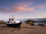 Fishing Boat on Aln Estuary at Twilight, Low Tide, Alnmouth, Near Alnwick, Northumberland, England Photographic Print by Lee Frost