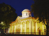 Illuminated Church on Pilies Gatve, Vilnius, Lithuania, Baltic States, Europe Photographic Print by Ian Trower