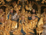 Golden Oak Retable Showing Mary&#39;s Coronation, Dating from the 16th Century, Kerdevot Church, France Fotografie-Druck von Godong 