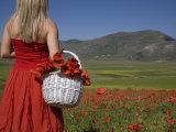 Woman in Poppy Field, Castelluccio Di Norcia, Norcia, Umbria, Italy, Europe Photographic Print by Angelo Cavalli