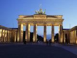 Brandenburg Gate Floodlit in the Evening, Pariser Platz, Unter Den Linden, Berlin, Germany, Europe Photographic Print
