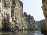 Tourist Boat in the Marble Rocks Gorge, Bhedaghat, Jabalpur, Madhya Pradesh State, India Photographic Print by Tony Waltham