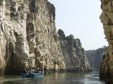 Tourist Boat in the Marble Rocks Gorge, Bhedaghat, Jabalpur, Madhya Pradesh State, India Photographic Print by Tony Waltham