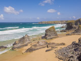 Rock Stacks, Beach and Rugged Coastline at Bedruthan Steps, North Cornwall, England Photographic Print by Neale Clark