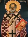 Greek Orthodox Icon Depicting St. Nicholas, Thessaloniki, Macedonia, Greece, Europe Photographic Print by  Godong