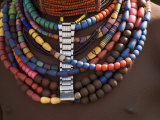 Close-Up of Bead Necklaces of a Hamer Woman, Turmi, Omo Region, Ethiopia, Africa Photographic Print by Carlo Morucchio