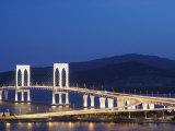 Sai Van Bridge at Dusk, Macau, China, Asia Photographic Print by Ian Trower