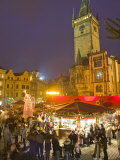 Old Town Square at Christmas Time and Old Town Hall, Prague, Czech Republic, Europe Photographic Print by Marco Cristofori