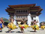 Dancers in Costume at Tsechu, Gantey Gompa, Phobjikha Valley, Bhutan, Asia, Photographic Print