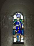 Stained Glass Windows in St Margarets Chapel  Built 1124 - 1153  Edinburgh Castle  Scotland