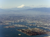 Aerial View of Yokohama City and Mount Fuji, Shizuoka Prefecture, Japan, Asia Photographic Print by Christian Kober