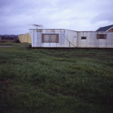Trailer Home with Antenna on Grassy Lawn, Vashon Island, Washington State, United States of America Photographic Print by Aaron McCoy