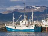 Fishing Trawler Lying in the Habour of Olavsvik, Western Iceland, Polar Regions Photographic Print by Michael Runkel