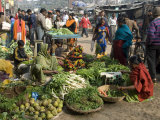 Morning Vegetable Market on Street Above Dasaswamedh Ghat, Varanasi, Uttar Pradesh State, India Photographic Print by Tony Waltham