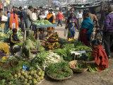 Morning Vegetable Market on Street Above Dasaswamedh Ghat, Varanasi, Uttar Pradesh State, India Photographic Print by Tony Waltham