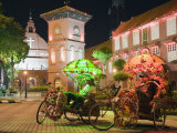 Rickshaw and Christ Church, Town Square, Melaka (Malacca), Melaka State, Malaysia, Southeast Asia,  Photographic Print by Christian Kober
