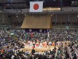 Fukuoka Sumo Competition, Entering the Ring Ceremony, Kyushu Basho, Fukuoka City, Kyushu, Japan Photographic Print by Christian Kober