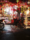 Cyclist in Front of Lantern Stall, Hanoi, Vietnam, Indochina, Southeast Asia, Asia Photographic Print