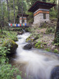 River Running Through Stone Cairns on Trail to Tigers Nest (Taktsang Goemba), Paro Valley, Bhutan Photographic Print by Christian Kober