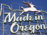 Made in Oregon Sign in Old Town District of Portland, Oregon, United States of America Photographic Print by Richard Cummins