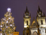 Old Town Square at Christmas Time and Tyn Cathedral, Prague, Czech Republic, Europe Photographic Print by Marco Cristofori