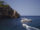 Yacht Moored Off Deia, Mallorca, Balearic Islands, Spain, Mediterranean, Europe Photographic Print