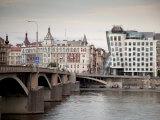 East Bank of Vltava River with Dancing House and Jiraskuv Bridge, Prague, Czech Republic Photographic Print by Nick Servian